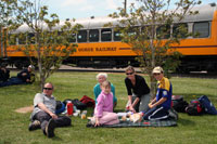 Picknickers by the Taieri Gorge Train